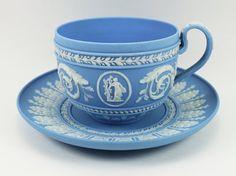 Wedgwood Light Blue Jasper Teacup & Saucer (2)