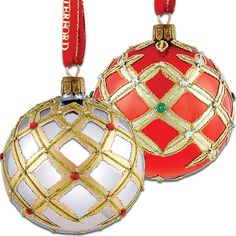 Waterford's Alana Set of 2 Ornaments  Glittering, hand blown and hand decorated glass ornaments will stand out on your Christmas tree.