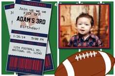 Football Birthday Party or Superbowl Invitations by HeathersCreations11  New England Patriots  Any team available!