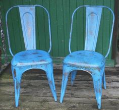 Pair Industrial French Cafe Chairs - New Distressed Blue - Vintage Tolix Style | eBay