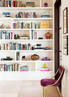 Home library with colorful books