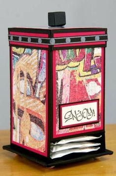 The Efficient Crafter--tea bag dispenser from scrapbook paper!