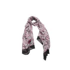 Echarpe Mini Flores Passarinho Cinza de Algodão #echarpes #lenços #lenço #scarf #scarfs