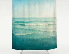 Shower Curtain Bathroom home decor, Ocean sea blue aqua aqamarine waves dreamy beach house decor, seashore, summer