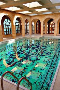 Iranian carpet tile pattern in pool. How fabulous. would be incredible on the interior of a pool house as well