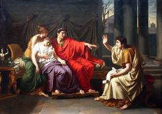 """Virgil Reading the Aeneid to Augustus, Octavia, and Livia, ca. 1790-93 by Jean-Baptiste Wicar """"Arms, and the man I sing, who, forc'd by fate, And haughty Juno's unrelenting hate, Expell'd and exil'..."""