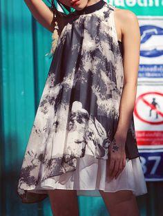 Aporia. AS Paneled Chiffon Mini Dress