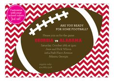 This Blue Chevron Tailgate Football Party Invitation is great for your Super Party Ideas. Custom football invitations can be any color your would like and include a free proof. Potluck Invitation, Football Party Invitations, Diy Invitations, Super Bowl, Custom Football, Harvest Party, Super Party, Blue Chevron, School Colors