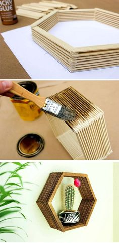 Build a hexagon wall shelf from popsicle sticks. Build a hexagon wall shelf from popsicle sticks. Diy Crafts For Home Decor, Diy Home Decor On A Budget, Diy Arts And Crafts, Diy Crafts To Sell, Diy Room Decor, Popsicle Stick Crafts, Popsicle Sticks, Craft Stick Crafts, Yarn Crafts
