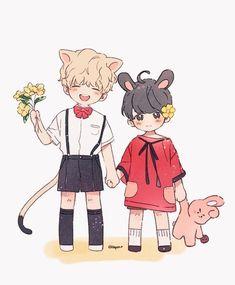 Image about cute in anime couples 💏 by j. Bts Chibi, Taekook, Kpop Drawings, Cartoon Drawings, Bts Jungkook, Namjoon, Vkook Memes, V Bts Wallpaper, Vkook Fanart