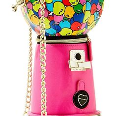Betsey Johnson Kitchi Bubble Gum Machine Crossbody (295 BRL) ❤ liked on Polyvore featuring bags, handbags, shoulder bags, pink, shoulder strap handbags, faux leather crossbody, crossbody purse, betsey johnson purses and pink purse