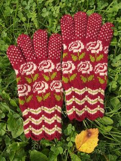 Finely Hand Knitted Seto Estonian Gloves in by NordicMittens ☆