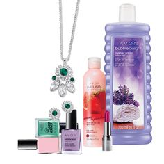 A little extra TLC at a great price! Includes: Nailwear Pro+ Nail Enamel in Pastel Pink, Nailwear Pro+ Nail Enamel in Luxe Lavender, Bubble Delight Lavender Garden Bubble Bath, Speed Dry+ 30 Nail Enamel in Turquoise Pop, Avon Naturals Body Care Sunny Strawberry & Guava Body Lotion, Beyond Color Lipstick SPF 15 sunscreen in Heat Wave and Elegant Royale Floral Necklace and Earring Gift Set.