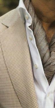 European look - twisted silk shawl inside white dress shirt