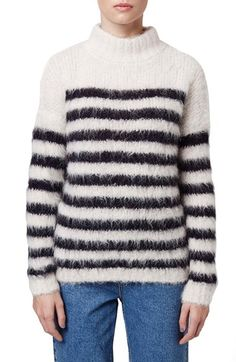 Topshop Boutique Stripe Fluffy Sweater available at #Nordstrom