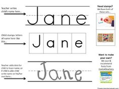 Preschool Printables -Name Stamping. I modified this by whiting out the top line and drawing in the middle line to make it solid, perfect for Handwriting Without Tears. I then laminate the page to use over and over. Kindergarten Names, Preschool Names, Name Activities, Preschool Literacy, Preschool Printables, Printable Worksheets, Preschool Ideas, Preschool Forms, Teaching Ideas