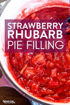 This strawberry rhubarb pie filling is such an easy recipe. It's the best summer dessert recipe is made on the stovetop and that freezes well. This screams summer, just serve with vanilla ice cream! Strawberry Rhubarb Pie Filling Recipe, Strawberry Rubarb Pie, Strawberry Recipes, Healthy Rhubarb Recipes, Strawberry Summer, Rhubarb Cake, Rhubarb Desserts Easy, Rhubarb Uses, How To Cook Rhubarb