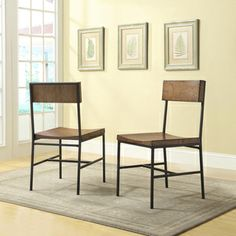 @Overstock.com - Lakeland Dining Chair - This dining chair has a modern rustic design. With its old schoolhouse seats and textured black metal frame, this versatile chair owes its good looks to the rich warm chestnut finished seat and Black metal frame.  http://www.overstock.com/Home-Garden/Lakeland-Dining-Chair/8450373/product.html?CID=214117 $179.99