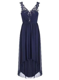 Dorothy Perkins Womens *Quiz Chiffon Dip Hem Dress- Blue Embroidered chiffon maxi dress with a dipped hem at the back. Length approx 145cm. 95% Polyester,5% Elastane. Machine washable. http://www.MightGet.com/january-2017-13/dorothy-perkins-womens-quiz-chiffon-dip-hem-dress-blue.asp