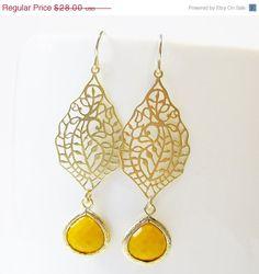 30% OFF SALE  Retro Mustard Yellow Filigree Drop by SusiDjewelry