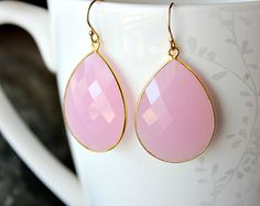 Large Cashmere Rose Drop Earrings Pink Quartz Dangle by ByGerene