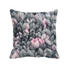 pink and grey woolen yarn printed shabby chic cushion cover home sofa decor decorative vintage throw pillow case(China (Mainland))