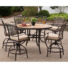 Shop For Monaco 7 Piece High Dining Set In Tan With A 56 In. Tile Top Table  And 6 Swivel Chairs. Get Free Delivery At Overstock   Your Online Garden U0026  Patio ...