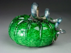 Hand Blown Glass Pumpkin  Emerald Jewel Tone. $50.00, via Etsy.