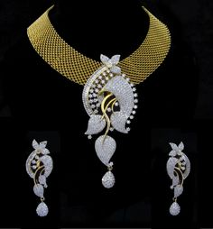 Indian CZ AD Ethnic Gold & Silver Tone Bollywood Necklace Bridal Jewellery 541 #Unbranded