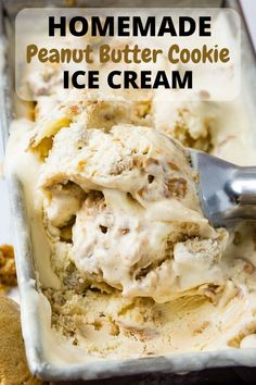 Peanut Butter Cookie Ice Cream Recipe Peanut butter cookie ice cream is what you asked for, so we are delivering! This is the most rich and creamy vanilla ice cream packed with swirls of real peanut butter and chunks of homemade peanut butter cookie! Homemade Peanut Butter Cookies, Biscoff Cookie Butter, Peanut Butter Banana Bread, Classic Peanut Butter Cookies, Peanut Butter Ice Cream, Vegan Ice Cream, Pavlova, Sauces, Sauce Creme