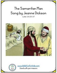 Here is a new song by Jeanne Dickson about the Parable of the Good Samaritan. There is a set of pictures that can be attached to large . Good Samaritan Bible, Kids Church, Church Ideas, Envelope Book, Bible Songs, Bible News, Sunday School Crafts, Bible Crafts, Kids Songs