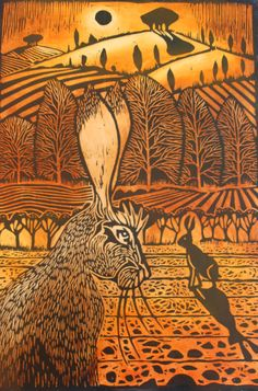Two hares by Ian MacCulloch  I love linoleum block prints and I think this is a great example of one ( I could be wrong about the type of print).