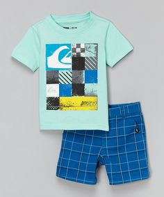 Blue Checkerboard Tee & Shorts - Infant & Toddler by Quiksilver #zulily #zulilyfinds