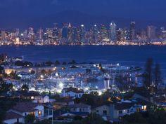 California, San Diego, City and Shelter Island Yacht Basin from Point Loma, Dusk, USA Photographic Print