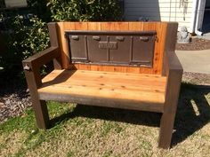 Two toned Willys Jeep tailgate bench made from cedar #rustisamust handyhinch.com Facebook.com/handyhinch #tailgatebench #willys #repurposed #slavage #jeep