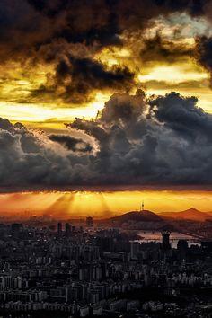 Sunset in Gangnam, South Korea.