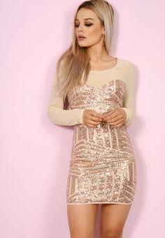 Mesh Sequin Mini Dress Nude / Rose Gold