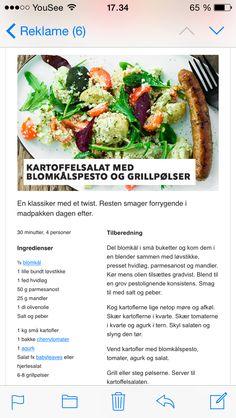 Kartoffelsalat med blomkålspesto aftensmad tilbehør sommer efterår