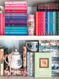 Rainbow books on shelf with Anne of Green Gables vintage replica from The Anne Store on Prince Edward Island Bookshelf Design, Bookshelves, Canterbury Classics, Good Books, My Books, Prince Edward Island, Anne Of Green Gables, Shelfie, Book Collection