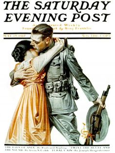 """J. C. Leyendecker - The Saturday Evening Post Magazine cover (May 19, 1917) """"Woman Kissing Soldier Goodbye"""""""