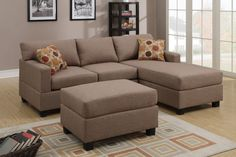 3-PCS Sectional Sofa (Ottoman Included)