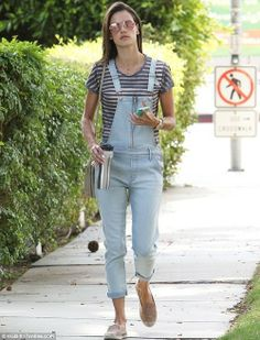 Shop Alessandra Ambrosio's look for $139:  http://lookastic.com/women/looks/light-blue-overalls-and-grey-crew-neck-t-shirt-and-grey-crossbody-bag-and-tan-loafers/2303  — Light Blue Denim Overalls  — Grey Horizontal Striped Crew-neck T-shirt  — Grey Leather Crossbody Bag  — Tan Suede Loafers
