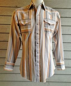 #vintage #80s #western #shirt in grey & tan stripe. #menswear | ReRunRoom |  $30.00