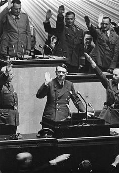 """Adolf Hitler speech to the Reichstag, 31 January 1941: """"I do not want to miss pointing out what I pointed out on 3rd of September [1940] in the German Reichstag, that if Jewry were to plunge the world into war, the role of Jewry would be finished in Europe. They may laugh about it today, as they laughed before about my prophecies. The coming months and years will prove that I prophesied rightly in this case too."""""""