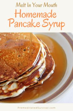 Melt In Your Mouth Homemade Pancake Syrup - Premeditated Survival You can make your own mouth-watering pancake syrup quickly and easily in just minutes at home. Try this recipe for homemade pancake syrup today. Homemade Pancake Syrup, Homemade Maple Syrup, Maple Syrup Recipes, Homemade Pancakes, Homemade Breakfast, Easy Homemade Syrup Recipe, Best Pancake Syrup Recipe, Healthy Pancake Syrup, Waffle Syrup Recipe