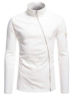 (NKLCJ712) TheLees Mens Lightweight Turtleneck Unbalanced Zip-Up Fleece Jacket