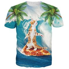 RAISEVERN Funny Surfing Cat Print Short Sleeve Crewneck Swag T-Shirts Tees M