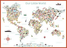 Illustrated Art Multi Cultural World Map Wall Adhesive Decal Sticker, Illustrated by Kathleen Renee with Lil Cloud Designs ™.  Fine art