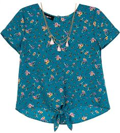 Amy Byer Girls Tie Front Pocket Tee-Shirt with Sequin