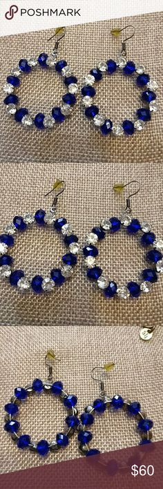 Vintage Art Nouveau Blue Glass Rhinestone Earrings Price too high? Visit my eBay store. Website is on my Poshmark About Me Page Sterling hooks. Cobalt blue glass. Glass Rhinestone. Great quality. Jewelry Earrings